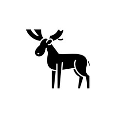 Moose black icon, concept vector sign on isolated background. Moose illustration, symbol