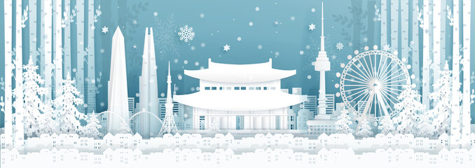 Fototapete - Panorama postcard and travel poster of world famous landmarks of Seoul, South Korea in winter season in paper cut style vector illustration