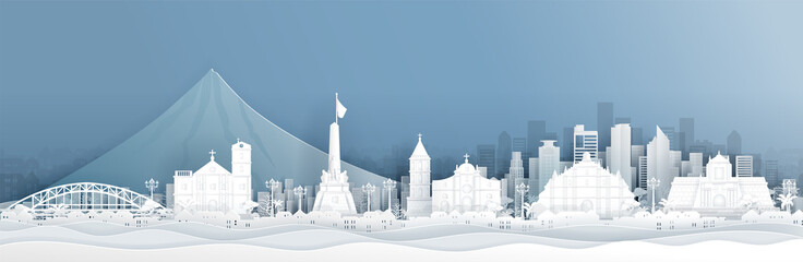 Fototapete - Panorama of Philippines with world famous landmarks in paper cut style vector illustration