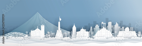 Fototapete Panorama of Philippines with world famous landmarks in paper cut style vector illustration