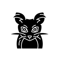 Monster mouse black icon, concept vector sign on isolated background. Monster mouse illustration, symbol