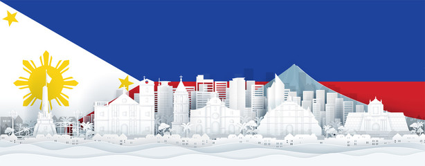 Wall Mural - Philippines flag and famous landmarks in paper cut style vector illustration.