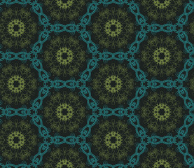 Seamless hexagonal pattern from circular abstract floral ornamentsin green and turquoise colors on a dark background. Vector illustration. Suitable for fabric, wallpaper and wrapping paper