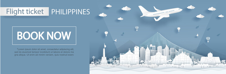 Fototapete - Flight and ticket advertising template with travel to Philippines concept and famous landmarks in paper cut style vector illustration