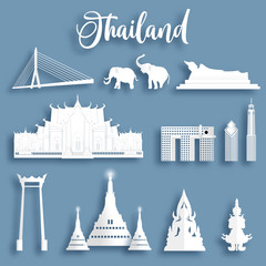 Fototapete - Collection of Thailand famous landmarks in paper cut style vector illustration.