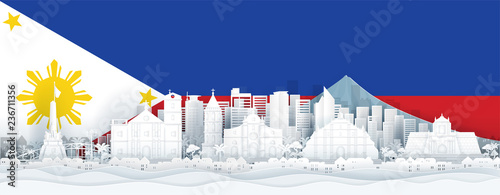 Fototapete Philippines flag and famous landmarks in paper cut style vector illustration.