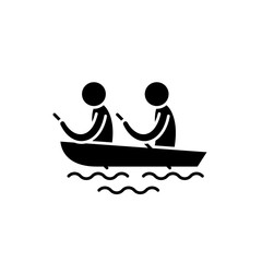 Kayaking black icon, concept vector sign on isolated background. Kayaking illustration, symbol