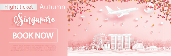 Fototapete - Flight and ticket advertising template with travel to Singapore in autumn season with falling maple leaves and famous landmarks in paper cut style vector illustration
