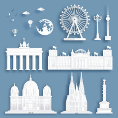 Fototapete - Collection of Germany famous landmarks in paper cut style vector illustration.