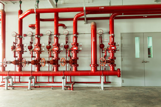 Red water pipe valve,pipe for water piping system control and Fire control system in industrial building or business building