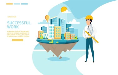 Architect Successful Work Vector Landing Page