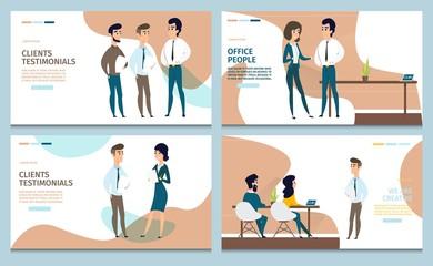 Business Services Cartoon Vector Web Banners Set
