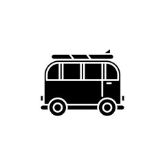 Minivan for travel black icon, concept vector sign on isolated background. Minivan for travel illustration, symbol
