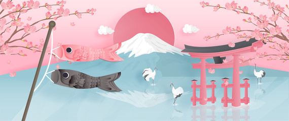 Wall Mural - Panorama of travel postcard, poster, tour advertising of world famous landmarks of Japan with Fuji mountain and Red-crowned crane in paper cut style. Vector illustration.