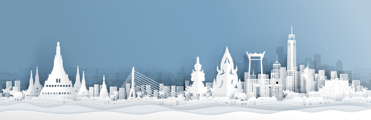 Fototapete - Panorama view of Thailand skyline with world famous landmarks in paper cut style vector illustration