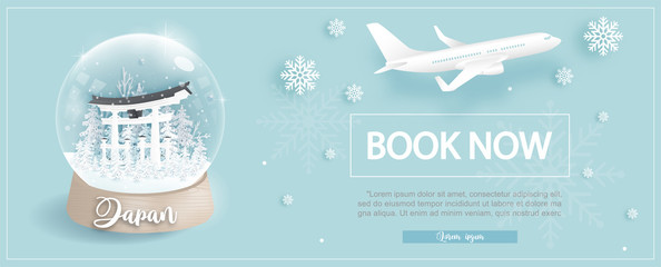 Fototapete - Flight and ticket advertising template with travel to Japanin winter season with Tori gate, famous landmarks in paper cut style vector illustration