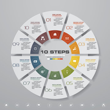 10 steps cycle chart infographics elements. EPS 10.