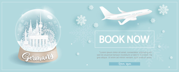 Wall Mural - Flight and ticket advertising template with travel to Germany in Winter season with famous landmarks in paper cut style vector illustration