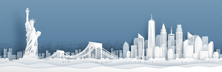 Fototapete - Panorama view of New York City, United States of Amerrica skyline with world famous landmarks in paper cut style vector illustration