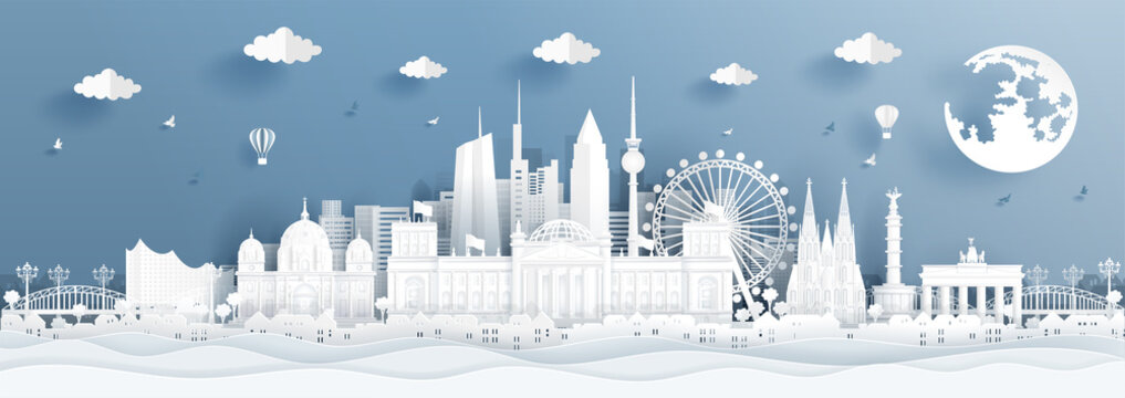 Panorama postcard and travel poster of world famous landmarks of Germany in paper cut style vector illustration