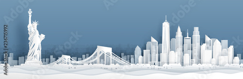 Fotomurales Panorama view of New York City, United States of Amerrica skyline with world famous landmarks in paper cut style vector illustration