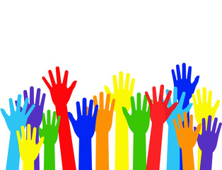 Vector illustration raised colorful hands isolated on white background