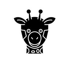 Funny giraffe black icon, concept vector sign on isolated background. Funny giraffe illustration, symbol