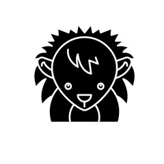 Funny hedgehog black icon, concept vector sign on isolated background. Funny hedgehog illustration, symbol