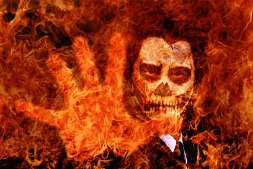 Skull face guy makeup in Flame buring scene.