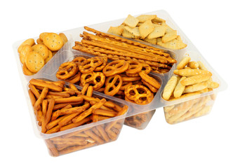 Zelfklevend Fotobehang Buffet, Bar Pack of savoury pretzel and cracker snack mix isolated on a white background