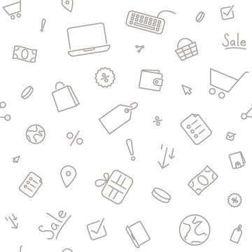 Seamless pattern shopping sale. Thin line icons on white background.