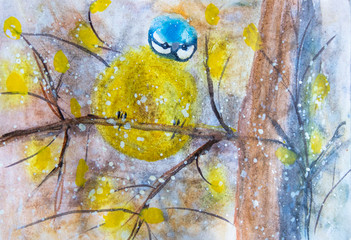 child's drawing bird titmouse on a branch yellow blue feathers leaves snow