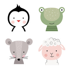Cartoon cute animals for baby card and invitation. Vector illustration. Penguin, frog, mouse, sheep.