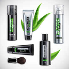 Realistic Shaving Cosmetics Products Set