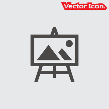 Easel icon isolated sign symbol and flat style for app, web and digital design. Vector illustration.