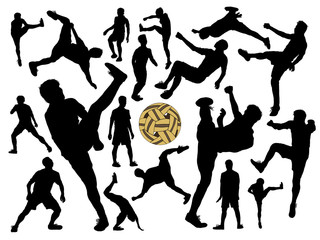 vector silhouette set of male Sepak Takraw player