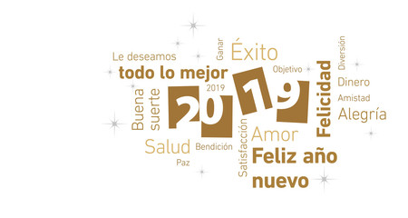 Happy New Year 2019 negative space Spanish language cloud text gold white silver vector