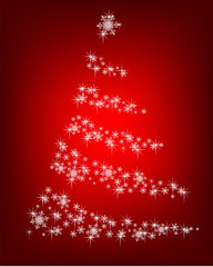Abstract Christmas tree of snowflakes and sparks on a red background