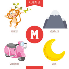 Vector Illustration Of Alphabet Letter M And Pictures