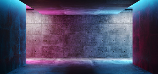 Modern Futuristic Sci Fi Concept Club Background Grunge Concrete Empty Dark Room With Neon Glowing Purple And Blue Pink Neon Lights 3D Rendering Fotoväggar
