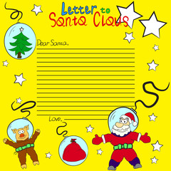 Christmas letter to Santa Claus on background astronauts: a pig, a tree, a bag with gifts and Santa