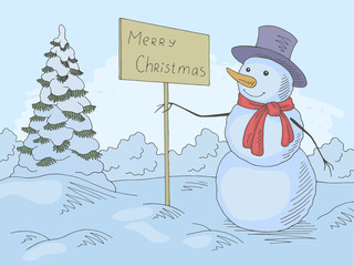 Snowman holding a greeting sign in winter park graphic color landscape sketch illustration vector