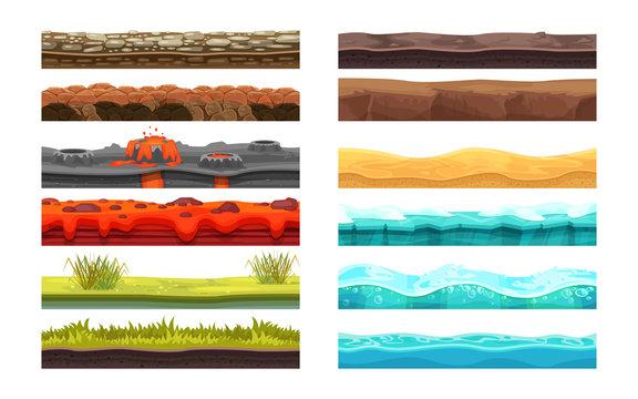 Gaming environment: landscape, surroundings. Ground, soil, water, ui games.