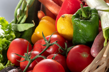 seasonal vegetables, tomatoes, peppers and other