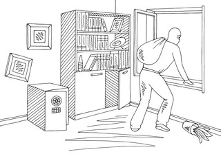 Thief getting out the window in the office room graphic black white interior sketch illustration vector