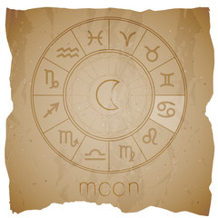 Vector illustration with Hand drawn astrological planet symbol MOON on a grunge old background.