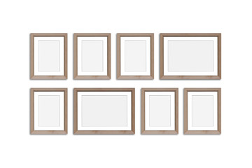 Frames collage, eight blank wooden frameworks mock up
