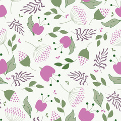 Retro pink floral seamless vector pattern in green, red and pink