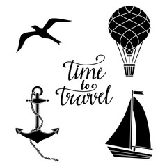 Travels black silhouettes set