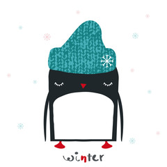 Funny penguin in knitted hat. Winter kids graphic. Vector hand drawn illustration.